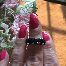 Size 5-4.34ct Black Sapphire Platinum Over Sterling Silver 5 Stone Ring