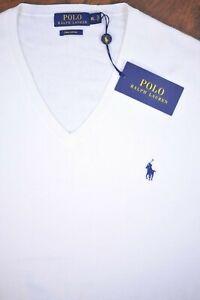 NWT Polo Ralph Lauren Pima Cotton V-Neck Sweater White Men's XL