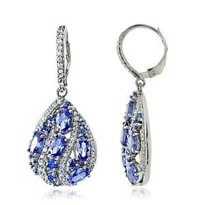 Sterling Silver Simulated Tanzanite and Cubic Zirconia Teardrop Dangle Earrings