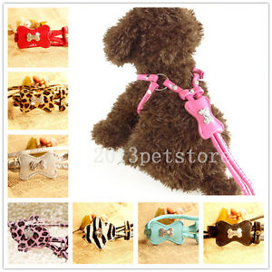 Puppy Leash Harness Soft Leather Pet Harnesses Lead Rhinestone Small Medium Dog