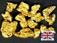 Gold Nuggets 10 x High Purity 21-23kt Pure Genuine Alaskan Approx 0.5 -1.5mm UK