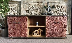 Hand Carved Indian TV Cabinet, Sideboard, Console Table