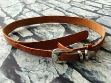 Vintage 80s 90s brown tan leather waist belt western cowboy hippy M