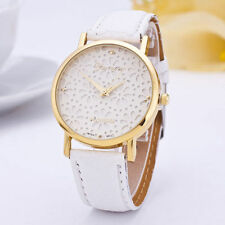 Ladies Gold Geneva Platinum Range Quartz Snow Flake White Faced Wrist Watch.
