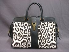 Auth YSL Cabas Chyc 279079 Ivory Dark Brown Black Spawn Leather Handbag