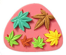 Marijuana Maple Leaves 6 Cavity Silicone Mold for Fondant GP Chocolate Crafts
