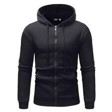 Mens Fleece Lined Hooded Coat Zip Up Plain Hoodie Jacket Overcoat Sweatshirt Top