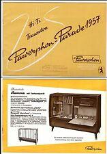 alter Prospekt PAWERPHON um 1957 Bild- und Tonmöbel, Konzerttruhen     ( 4706