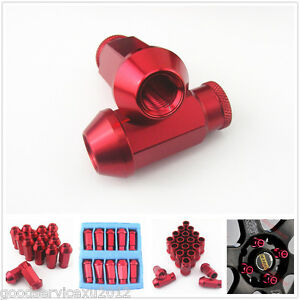 20 Pcs Red Racing Wheel Rim Screw Extended Lugs Nut M12 x 1.5MM for Toyota Lexus
