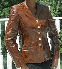 New Nwot Stylish Escada crocodile embossed leather jacket Coat Stroller 34 S-4