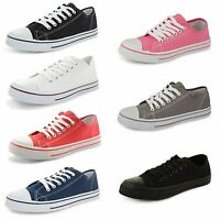 Womens Ladies Flat Lace Up Plimsolls Pumps Canvas Trainers Girls Shoes Size
