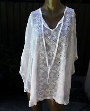 "NWT JOHNNY WAS Sz L,XL ""Ditsy"" White Eyelet Poncho Beach Cover-Up"