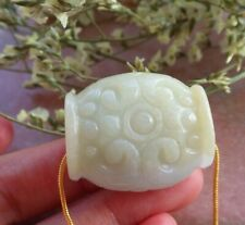 Certified Yellow 100% Natural A Jade jadeite pendant Flower Circle Bead 592216
