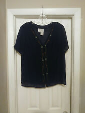 Julie Stevens: Women's Navy Blue Floral Sheer Button-Up Shirt Size 13/14