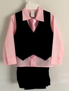 4 Pc Little Boy's Black Pinstriped Pants & Vest, Pink Shirt & Tie Set~~Size 4