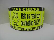 50 cut/fold labels, LIVE CHICKS Help us reach destination alive, 2x3 chartreuse