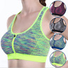 Women's Zip Front Sports Bra Active Yoga Removable Pads Bras Breathable Tops Bra