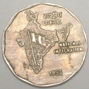 1993 India Indian 2 Rupees Three Lions Map Coin VF+