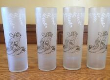 Set of 4 VINTAGE 1940's Libbey White Rock Frosted Collins Glasses w/ Nymph Logo