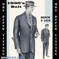 Menswear Vintage Sewing Pattern 1930s Men's Suit Jacket & Trousers F-1010