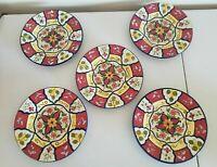 "PIER ONE VALLARTA 9"" Salad Plates x 5 2005-06 Perfect Handpainted Stoneware"