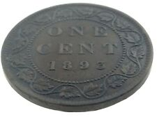 1893 Canada One 1 Cent Penny Canadian Circulated Victoria Coin M588