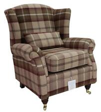 Ashley Wing Chair Fireside High Back Armchair Balmoral Mulberry Check PS