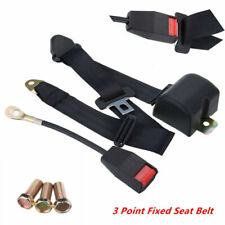 Retractable Vehicle 3 Point Fixed Auto Car Safety Seat Belt Kit Black (AU Stock)