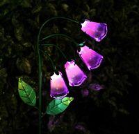 Solar Garden Ornament Fox Glove Glass Stake Light Garden LED Decoration 88cm