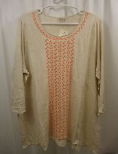 Women's Lucky Brand Embroidered   3/4 Sleeve  Shirt 2X