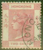 Hong Kong 1882 2c Rose-Pink SG32a V.F.U