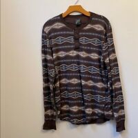 Mens Lucky Brand Large Brown Long Sleeve Henley Size L