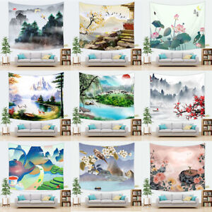 Art Chinese Landscape Japanese Ink Painting Wall Hanging Mountain Tree Tapestry