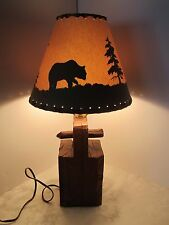 Rustic reclaimed wood barn beam table lamp peg bear country shade Vintage retro