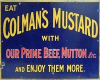 Colmans Mustard VINTAGE ENAMEL METAL TIN SIGN WALL PLAQUE