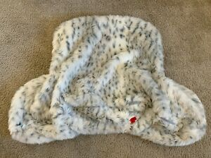 POTTERY BARN Faux Fur Gray Leopard Lounge Around Pillow Slipcover Bed Rest NWT