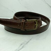Italian Stitched Leather Brown Belt Gold Solid Brass Buckle Size 38