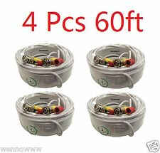 *4 x 60 Feet HD Security Camera Video & Power BNC Cable for Surveillance System
