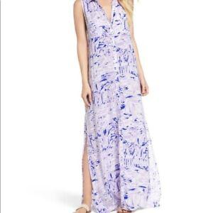 Lilly Pulitzer NWT Purple White Blue Rock The Dock Ezra Maxi Beach Dress Size L