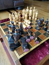 """Vintage Hand Carved XL Extra Large Wood Chess Set Inlay Great Detail King 6.5"""""""
