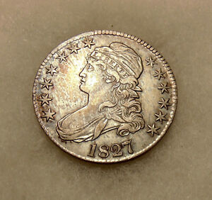 """1827 Capped Bust Half Dol - O-112 """"Square Base 2"""" Var R.3 - Sharp Looking Coin"""