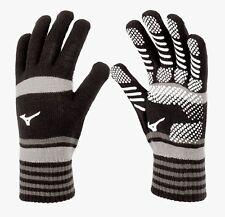 Mizuno Men Knit Gloves Sports Black Gray Football Run Acrylic Glove 32JY850290