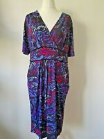 M&S dress size 16 blue purple pink jersey wiggle flattering bold stretchy   231