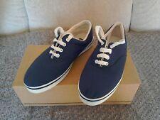 Mens Navy Blue Lace Up Canvas Boat/Deck Shoes/Plimsolls Size UK6