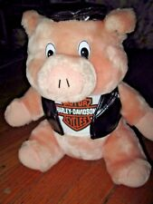 """* The Harley Davidson Pig * Stuffed Animal With Leather Vest & Cap """" I'M Down """""""