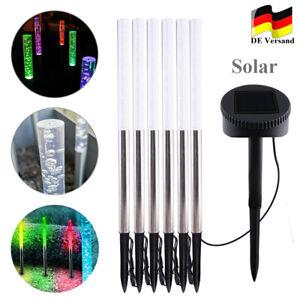 6x RGB LED Solar Leuchten Steck Lampe Farbwechsler Balkon Garten Beleuchtung DHL