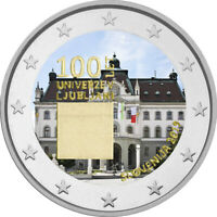 2 Euro Gedenkmünze Slowenien 2019 coloriert / mit Farbe Farbmünze Universität  1