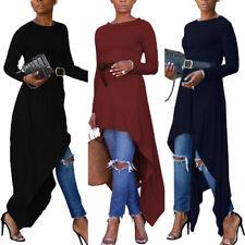 ZANZEA Damen Langarm Asymmetrisch Lange Shirtkleid Plus Size Partykleid Kaftan