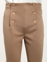 Men's Khaki Vintage Costume pants Victorian High Waist Retro steampunk Trousers