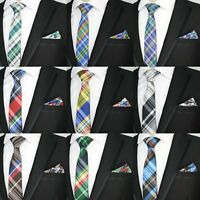 MEN'S SKINNY TIE NECKTIE & MATCHING POCKET SQUARE HANKY HANDKERCHIEF WEDDING SET